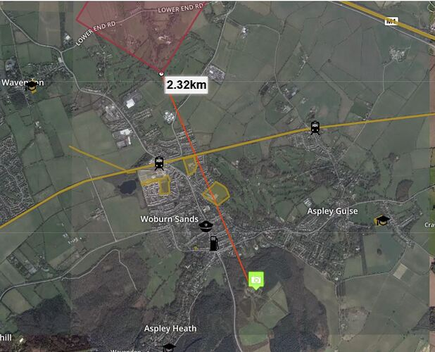 Woburn Woods distance to Cranfield FRZ